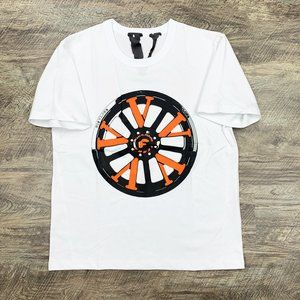 Vlone x Forgiato Rims Black & Orange on White Tee